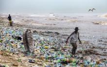 PET palackok a tenger partján